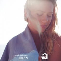 COOL-FOUTA Gris Neutro con rayas Sal de Ibiza Tiffany - Toalla de Hammam Fouta en tejido Panal de abeja 2x1m.