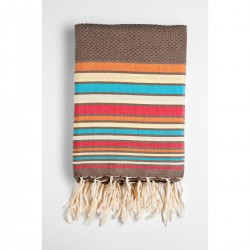 COOL-FOUTA HAMMAM WAVES Fouta panal de abeja color liso al interior con rayas de 5 colores 2x1m.