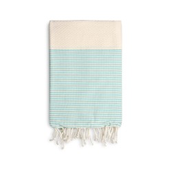 COOL-FOUTA Honeycomb Natural Raw cotton solid color with Emerald Green stripes - Hammam Towel Fouta 2x1m.