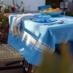 COOL-FOUTA CLASSIC Azul Cielo con bandas algodón crudo clásicas - Toalla de Hammam Fouta Tejido liso 2x1m.