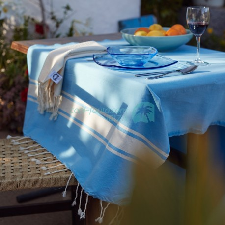 COOL-FOUTA CLASSIC Sky Blue with Raw Cotton stripes -  plain weaving Hammam Towel 2x1m.