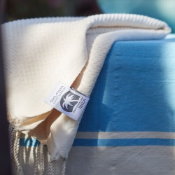 COOL-FOUTA PACK 1+Mini Classic Sky Blue Hammam plain weave Fouta + Mini raw cotton