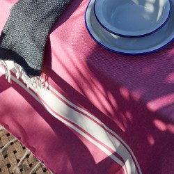 COOL-FOUTA PACK 1+2Mini Classic Fuchsia Hammam plain weave Fouta + Mini raw cotton & Black