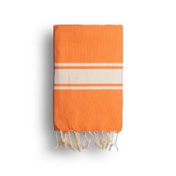 COOL-FOUTA CLASSIC plain weaving Mandarin Orange with raw stripes - Fouta Hammam Towel 2x1m.