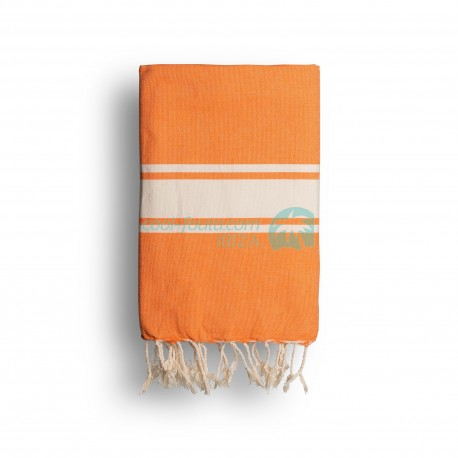 COOL-FOUTA CLASSIC Tejido liso Naranja Mandarina con bandas crudo clásicas - Toalla de Hammam Fouta  2x1m.