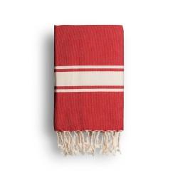 COOL-FOUTA CLASSIC Tejido liso Rojo Llama Escarlata con bandas crudo clásicas - Toalla de Hammam Fouta  2x1m.