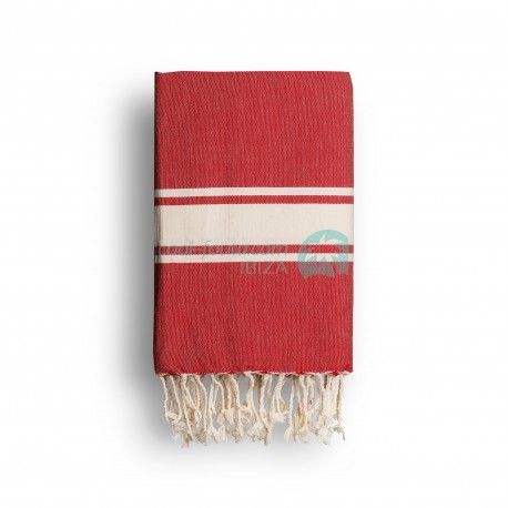 COOL-FOUTA CLASSIC plain weaving Flame Scarlet Red with raw stripes - Fouta Hammam Towel 2x1m.