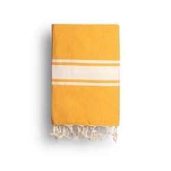 COOL-FOUTA CLASSIC Amarillo Azafrán Tejido liso con bandas crudo clásicas - Toalla de Hammam Fouta  2x1m.