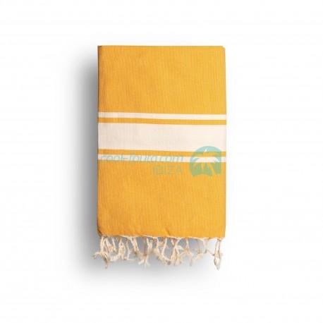 COOL-FOUTA CLASSIC Amarillo Girasol Tejido liso con bandas crudo clásicas - Toalla de Hammam Fouta  2x1m.