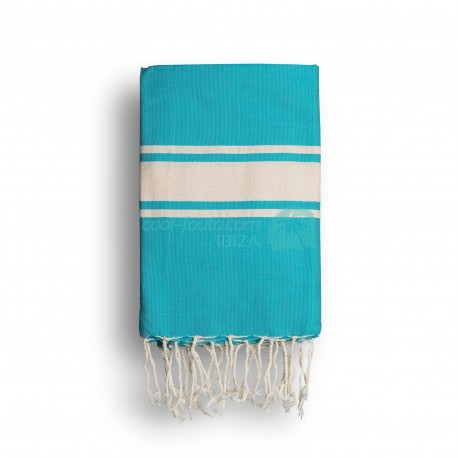 COOL-FOUTA CLASSIC Green Turquoise plain weaving with raw stripes - Fouta Hammam Towel 2x1m.