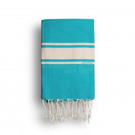 COOL-FOUTA CLASSIC Green Turquoise plain weaving with raw stripes - Fouta Hammam Towel 2x1m.