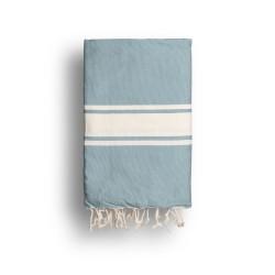 COOL-FOUTA CLASSIC Azul Denim Desteñido Tejido liso con bandas crudo clásicas - Toalla de Hammam Fouta  2x1m.