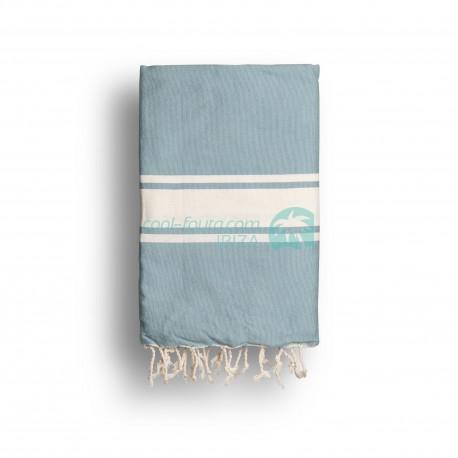 COOL-FOUTA CLASSIC Faded Denim Blue Turquoise plain weaving with raw stripes - Fouta Hammam Towel 2x1m.