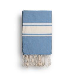 COOL-FOUTA CLASSIC Azul Heritage Tejido liso con bandas crudo clásicas - Toalla de Hammam Fouta  2x1m.