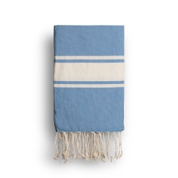 COOL-FOUTA CLASSIC Heritage Blue plain weaving with raw stripes - Fouta Hammam Towel 2x1m.