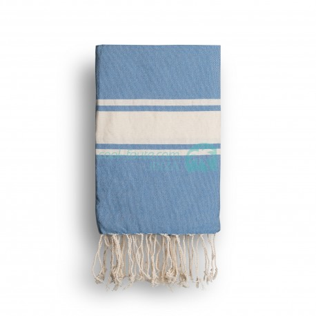 COOL-FOUTA CLASSIC Heritage Blue Turquoise plain weaving with raw stripes - Fouta Hammam Towel 2x1m.