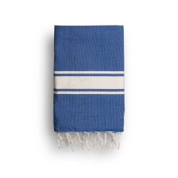 COOL-FOUTA CLASSIC Blue plain weaving with raw stripes - Fouta Hammam Towel 2x1m.