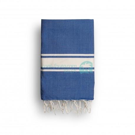 COOL-FOUTA CLASSIC Azul Classic Tejido liso con bandas crudo clásicas - Toalla de Hammam Fouta  2x1m.