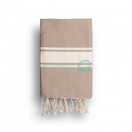 COOL-FOUTA CLASSIC Topo Cálido Tejido liso con bandas crudo clásicas - Toalla de Hammam Fouta  2x1m.