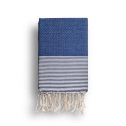 COOL-FOUTA Azul Classic con rayas color algodón crudo - Toalla de Hammam Fouta en tejido Panal de abeja 2x1m.