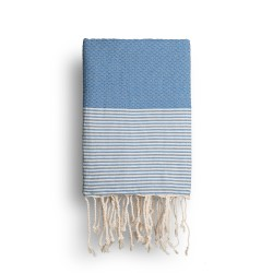 COOL-FOUTA Classic Blue solid color with Raw cotton stripes - Honeycomb Hammam Towel Fouta 2x1m.
