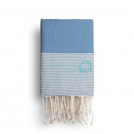 COOL-FOUTA Azul Heritage con rayas color algodón crudo - Toalla de Hammam Fouta en tejido Panal de abeja 2x1m.
