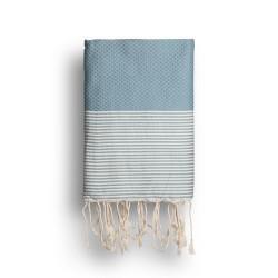 COOL-FOUTA Azul Denim Desteñido con rayas color algodón crudo - Toalla de Hammam Fouta en tejido Panal de abeja 2x1m.