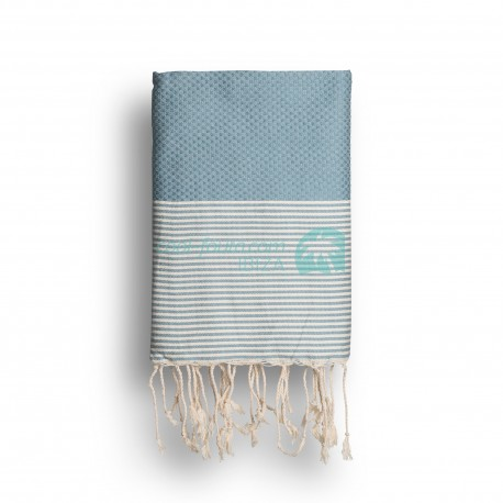 COOL-FOUTA Faded Denim Blue solid color with Raw cotton stripes - Honeycomb Hammam Towel Fouta 2x1m.
