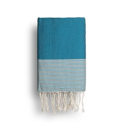 COOL-FOUTA Mosaic Blue solid color with Raw cotton stripes - Honeycomb Hammam Towel Fouta 2x1m.