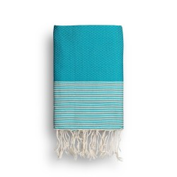 COOL-FOUTA Green Turquoise solid color with Raw cotton stripes - Honeycomb Hammam Towel Fouta 2x1m.