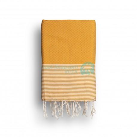 COOL-FOUTA Amarillo Azafrán con rayas color algodón crudo - Toalla de Hammam Fouta en tejido Panal de abeja 2x1m.