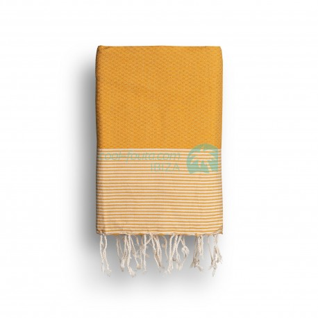 COOL-FOUTA Saffron Yellow solid color with Raw cotton stripes - Honeycomb Hammam Towel Fouta 2x1m.