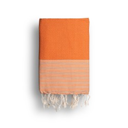 COOL-FOUTA Honeycomb Mandarin Orange solid color with Raw cotton stripes - Hammam Towel Fouta 2x1m.