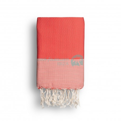 COOL-FOUTA Warm Coral Honeycomb solid color with Raw cotton stripes - Hammam Towel Fouta 2x1m.