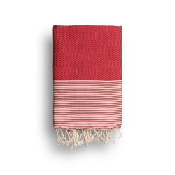COOL-FOUTA Rojo Escarlata con rayas color algodón crudo - Toalla de Hammam Fouta en tejido Panal de abeja 2x1m.