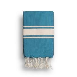 COOL-FOUTA CLASSIC Azul Mosaico Tejido liso con bandas crudo clásicas - Toalla de Hammam Fouta  2x1m.