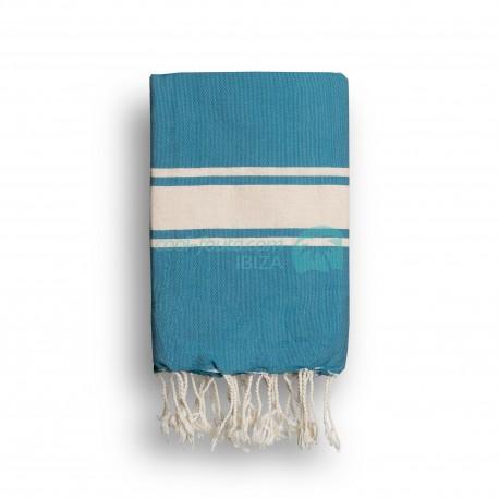COOL-FOUTA CLASSIC Mosaic Blue plain weaving with raw stripes - Fouta Hammam Towel 2x1m.