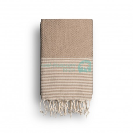 COOL-FOUTA Cuban Sand Beige solid color with Raw cotton stripes - Honeycomb Hammam Towel Fouta 2x1m.