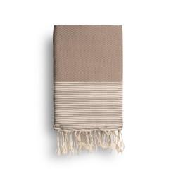COOL-FOUTA Topo Cálido con rayas color algodón crudo - Toalla de Hammam Fouta en tejido Panal de abeja 2x1m.