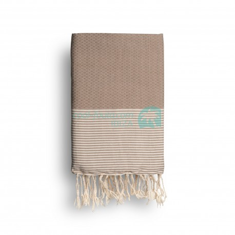 COOL-FOUTA Warm Taupe solid color with Raw cotton stripes - Honeycomb Hammam Towel Fouta 2x1m.