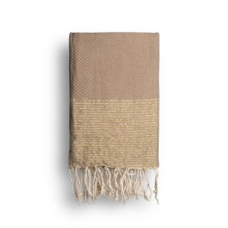 COOL-FOUTA Cuban Sand Beige solid color with Golden Lurex stripes - Honeycomb Hammam Towel Fouta 2x1m.