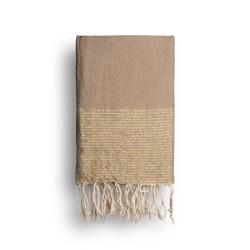 COOL-FOUTA Cuban Sand Beige solid color with Golden Lurex stripes - Honeycomb Hammam Towel Fouta 2x1m.