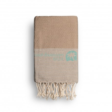 COOL-FOUTA Cuban Sand Beige solid color with Silver Lurex stripes - Honeycomb Hammam Towel Fouta 2x1m.