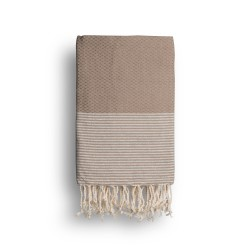 COOL-FOUTA Warm Taupe solid color with Silver Lurex stripes - Honeycomb Hammam Towel Fouta 2x1m.