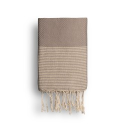 COOL-FOUTA Warm Taupe solid color with Golden Lurex stripes - Honeycomb Hammam Towel Fouta 2x1m.