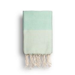 COOL-FOUTA Menta con rayas color algodón crudo - Toalla de Hammam Fouta en tejido Panal de abeja 2x1m.