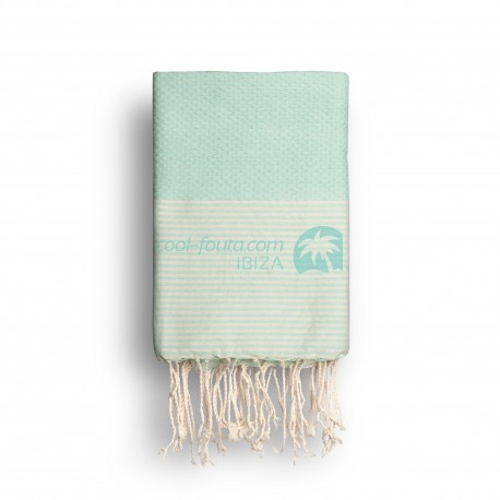 COOL-FOUTA Mint solid color with Raw cotton stripes - Honeycomb Hammam Towel Fouta 2x1m.