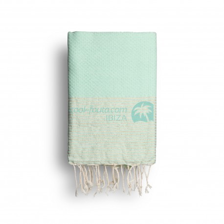 COOL-FOUTA Mint solid color with Golden Lurex stripes - Honeycomb Hammam Towel Fouta 2x1m.