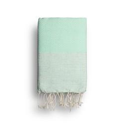 COOL-FOUTA Menta con rayas color Lurex Plateado - Toalla de Hammam Fouta en tejido Panal de abeja 2x1m.