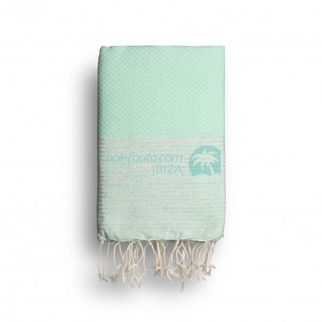 COOL-FOUTA Mint solid color with Silver Lurex stripes - Honeycomb Hammam Towel Fouta 2x1m.